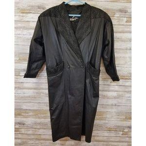 Vintage 80's Winlit long leather trench coat